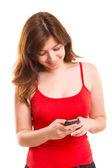 Kobieta z telefonem — Zdjęcie stockowe