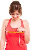 Mulher corpo de medição — Fotografia Stock