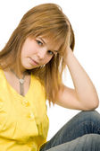Young casual blonde woman close up portrait — Stock Photo