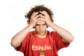 Spanish young man supporter, isolated on white — Stock Photo