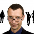 Young business man portrait with silhouettes — Stock Photo