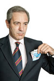 Mature business man with money — Stock Photo