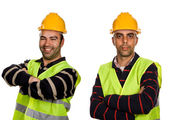 Two young workers on a white background — Stock Photo