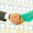 Business men and doctor hand shake, close up — Stock Photo