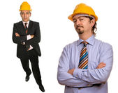 Two workers isolated in a white background — Stock Photo