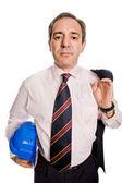 Inżynier z niebieski kapelusz, na białym tle — Zdjęcie stockowe