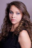 Young beautiful teenager brunette close up — Stock Photo