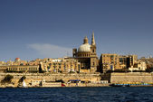 Old town of La Valetta in Malta island, view from the ocean — Stock Photo