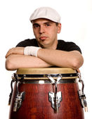 Studio picture of a young drummer man — Stock Photo