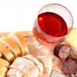 Stock Photo: A set of food with red wine isolated on white