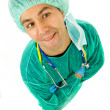 Stock Photo: Young silly doctor, full length, isolated on white background