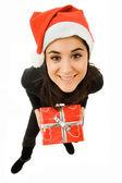 持有一份圣诞礼物,孤立年轻美丽的女孩 — 图库照片