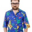 Young silly man with a hawaiian shirt — Stock Photo #23759071