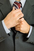 Detail of a Business man Suit with colored tie — Stock Photo