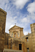 Ancient church tower of malta cathedral detail — Stok fotoğraf