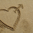 Hand drawn heart on the sand detail — Stock Photo #23788967