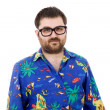 Young silly man with a hawaiian shirt — Stock Photo