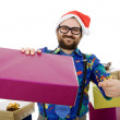 Happy silly salesman with some boxes — Stock Photo