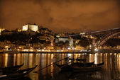 Oporto town by night in the north of portugal — Stock Photo