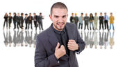 Business man in front of a group of — Stock Photo