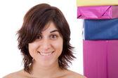 Mujer joven adicto a las compras — Foto de Stock