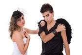 青少年情侣玩作为演员 — 图库照片