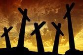 Croce tramonto — Foto Stock