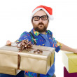 Happy silly salesmwith some boxes — Stock Photo #23807809