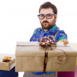 Happy silly salesmwith some boxes — Stock Photo #23808527