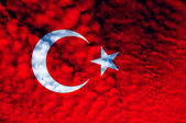 Turkey red and white flag — Stock Photo