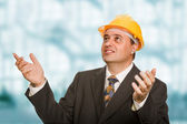 An engineer with yellow hat at the office — Stock Photo