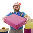 Happy silly salesmwith some boxes — Stock Photo #23819303