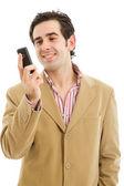 在电话上年轻人休闲 — 图库照片