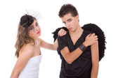 Teen couple playing as actors — Foto Stock