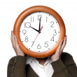 Woman with a clock covering her head — Stock Photo #23827535