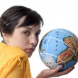Pretty young woman holding the world in her hand — Stock Photo #23821651