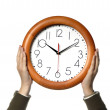 Stock Photo: Womwith clock i