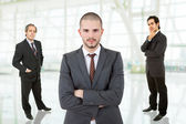 Three business men portrait at the office — Stock Photo
