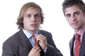 Portrait of two young business men — Stock Photo