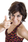 Young happy beautiful woman going thumb up — Stock Photo