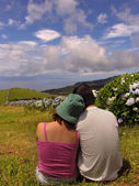 Couple in azores fields — Stock Photo