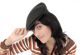 Attractive teen wearing hat — Stock Photo