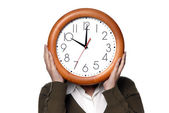 Woman with a clock covering her head — Stock Photo