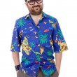 Young silly man with a hawaiian shirt — Stock Photo #23830241