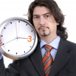 Stockfoto: Business mwith clock on white background
