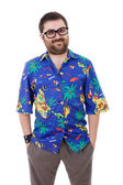 Young silly man with a hawaiian shirt — Stockfoto
