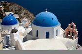 Thira utsikt från toppen på ön santorini, grekland — Stockfoto