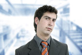 Young pensive man portrait at the office — Stock Photo