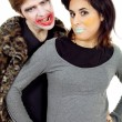 Couple young dressed as clowns — Stock Photo