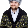 Young casual man portrait with a russian hat — Stock Photo